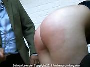 19-stroke bare butt caning for Belinda Lawson