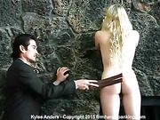 Blonde stripped, strapped and spanked to tears