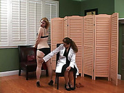 Karen is thoroughly spanked by Eve to prep her for the