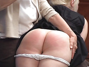 Spanked, blushing seat of a naughty, punished lady