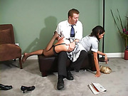 Danny pulls Samantha across his lap and spanks her briskly
