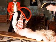 Bound blonde milf spanking