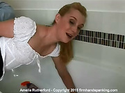 Blistering bathroom spanking