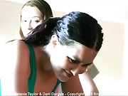 Spanking Melanie with a leather paddle