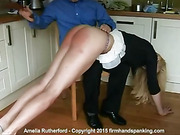 Amelia Rutherford takes a blazing bare spanking