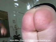 Rapid fire leather paddle spanking