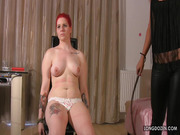 Mistress Lyla Star painful whipping slave Lussy's tits.