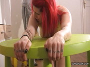 Slave Lussy's butt got painful punishment.