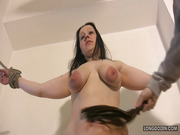 Busty Donna's big tits got hard whipped.