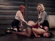 Bad Secretary: Hot babe spanked, double penetrated, &