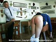 Belinda reports for punishment in her old school uniform