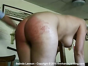 Belinda Lawson willingly accepts her spanking