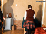 Young schoolgirl gets whipping on the bottoms