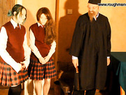 Teacher spanking schoolgirl use strap