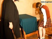 A fat man punishes a schoolgirl with glasses