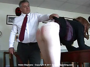 A stinging leather strap across her bare bottom