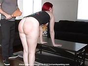 The sharp CRACK of a wooden paddle spanking Alison